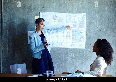 Mature businesswomen presenting ideas at meeting - Stock Photo