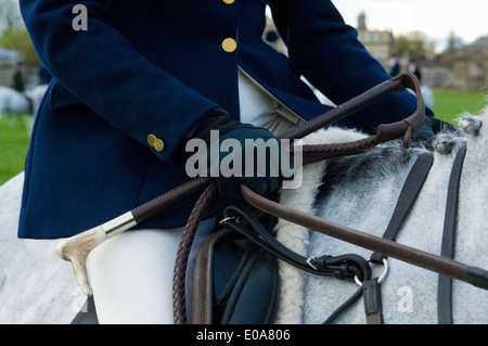 Close up cropped shot of mature woman riding grey horse - Stock Photo