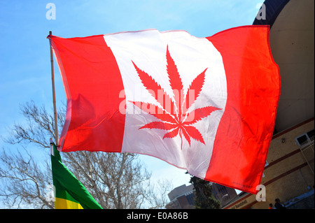 Images from the annual 420 pro cannabis day held in London, Ontario on the 20th April 2014. - Stock Photo