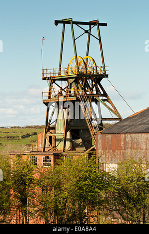 Pit head winding gear iconic colliery or mine workings - Stock Photo