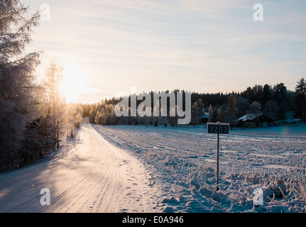 Snow-covered road - Stock Photo