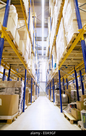 Aisle and shelves in distribution warehouse - Stock Photo