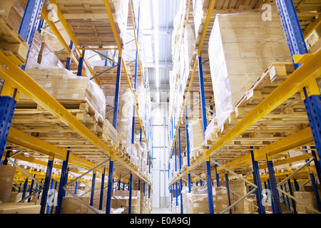 Stacked shelves in distribution warehouse - Stock Photo