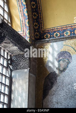 Detail of a13th cen. Byzantine Deesis mosaic, showing the Virgin Mary. Upper gallery Hagia Sophia, Sultanahmet, - Stock Photo