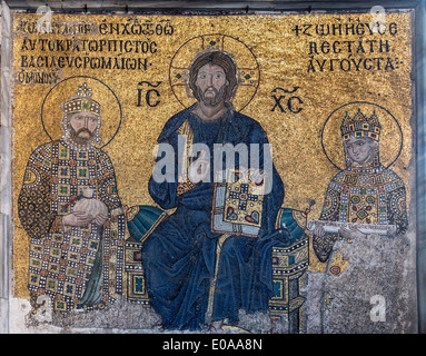 Detai of a13th cen. Byzantine mosaic, depicting Christ, Emperor Constantine lX and Empress Zoe. Hagia Sophia,  Istanbul, - Stock Photo