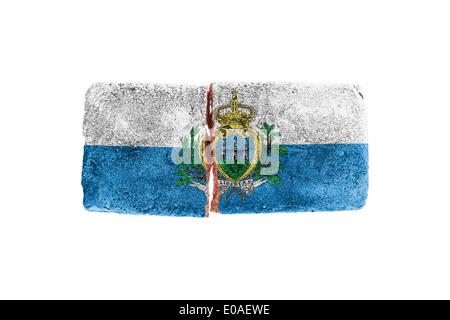 Rough broken brick  isolated on white background  flag of San Marino - Stock Photo