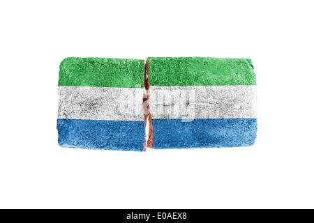 Rough broken brick  isolated on white background  flag of Sierra Leone - Stock Photo