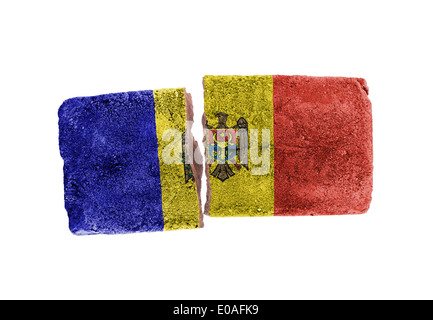 Rough broken brick  isolated on white background  flag of Moldova - Stock Photo