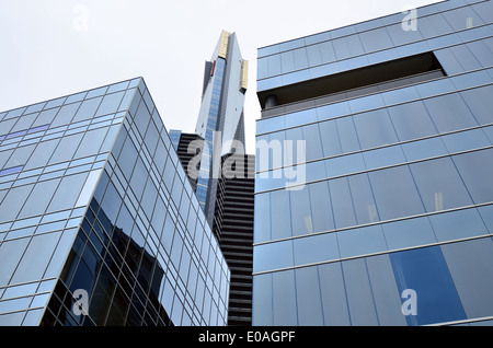 Looking upwards along the Eureka Tower, In 2006 It was the world's tallest residential tower when measured to its - Stock Photo