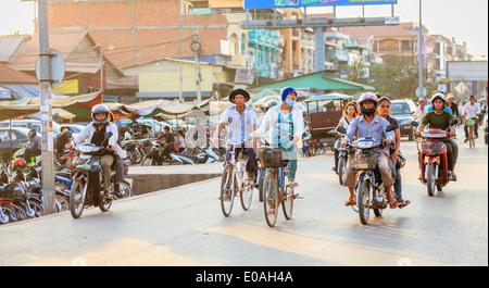 Evening traffic in Siem Reap, Cambodia - Stock Photo