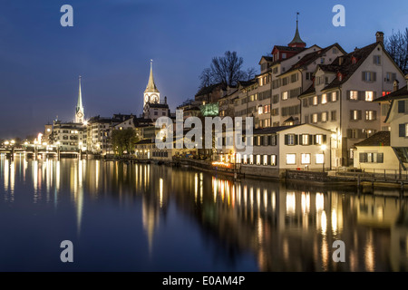 River Limmat in Old City Center of Zurich, Historic Buildings, St. Peters Church, Fraumunster, Twilight, Zurich, - Stock Photo