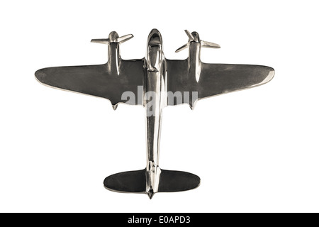 a shine chrome airplane model isolated over a white background - Stock Photo