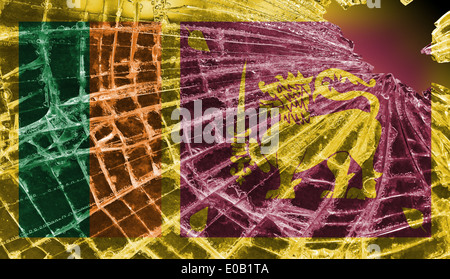 Isolated broken glass or ice with a flag  Sri Lanka - Stock Photo