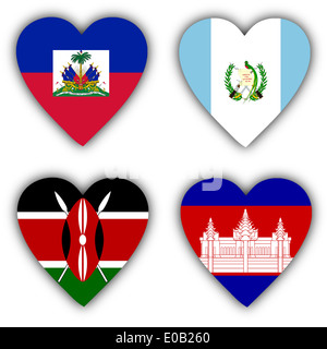 Flags in the shape of a heart  4 different countries - Stock Photo