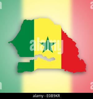 Senegal Map With Flag Inside Stock Vector Art Illustration - Senegal map vector