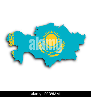 Map of Kazakhstan filled with the national flag - Stock Photo