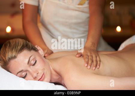 Woman Having Massage In Spa - Stock Photo