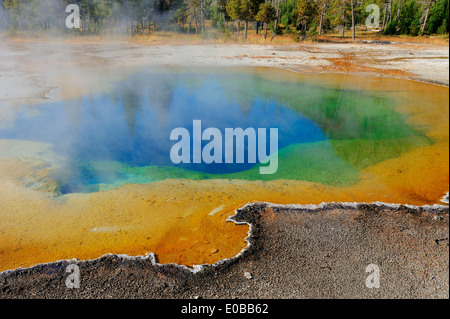 Emerald Pool, Black Sand Basin, Yellowstone national park, USA - Stock Photo
