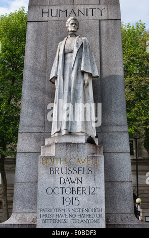 The Edith Cavell memorial, London. She was executed by Germany in 1915 for helping Allied troops escape from occupied - Stock Photo