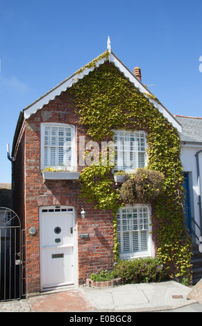 Cornish cottage with ivy in St Ives Cornwall - Stock Photo