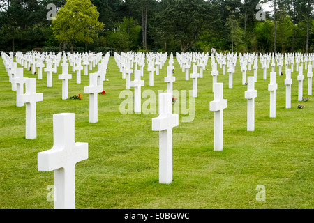 American War Cemetery and Memorial, Colleville-sur-Mer, France - Stock Photo