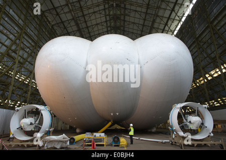Airlander 10, world's largest aircraft and most advanced airship, in a airship hanger at the former RAF Cardington, - Stock Photo