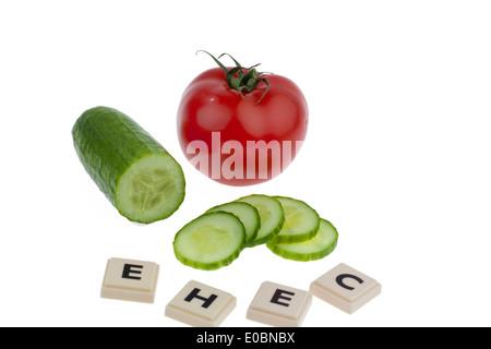 A cucumber as a symbol for the illness EHEC, Eine Gurke als Symbol fuer die EHEC Krankheit - Stock Photo