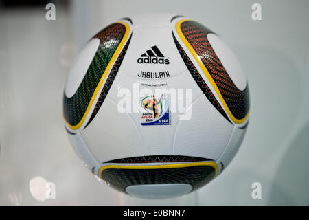 Fuerth, Germany. 08th May, 2014. The 'Jabulani' soccer ball which was the official ball of the 2010 soccer world - Stock Photo