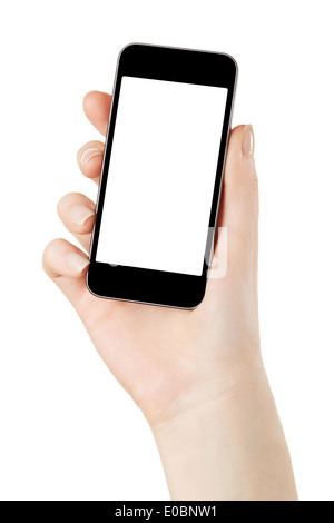 Hand holding smart phone with blank screen - Stock Photo