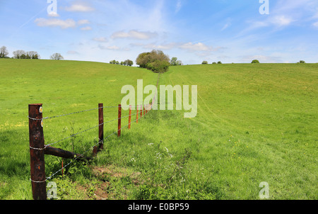 A Landscape in Rural Oxfordshire with barbed wire fence between fields - Stock Photo