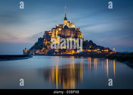 Twilight over Le Mont Saint Michel, Normandy France - Stock Photo