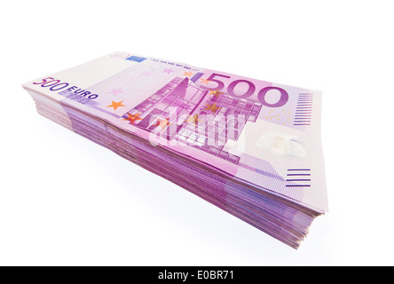 A lot of 500 euromoney bank notes lies on a pile. Exempt on white background., Viele 500 Eurogeld Banknoten liegen - Stock Photo