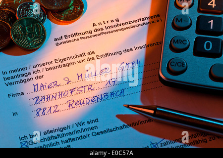 The application for a bankruptcy for enterprise in Germany, Der Antrag fuer einen Konkurs fuer Unternehmen in Deutschland - Stock Photo