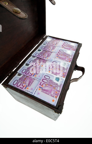 A big chest with euro of bank notes. Financial crisis, crisis, debts., Eine grosse Truhe mit Euro Banknoten. Finanzkrise, - Stock Photo