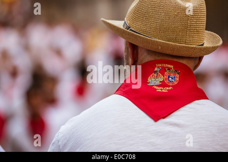 Man Watches San Fermin Running of the Bulls - Pamplona - Stock Photo