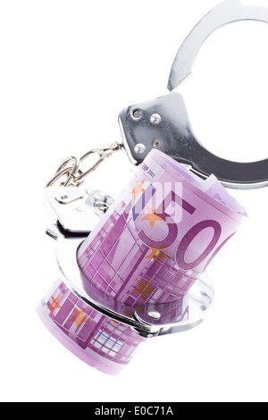 500 euros of bank note with handcuffs, 500 Euro Geldschein mit Handschellen - Stock Photo