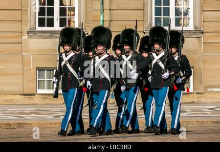 Royal Life Guards in front of Amalienborg Palace, Copenhagen, Denmark - Stock Photo