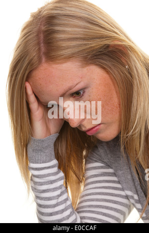 Portrait of a pensive young woman. Worries and problems, Portrait einer nachdenklichen junge Frau. Sorgen und Probleme - Stock Photo