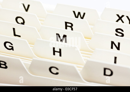Alphabetical register to the assortment of index cards. Customer addresses and patient's data., Alphabetisches Register - Stock Photo