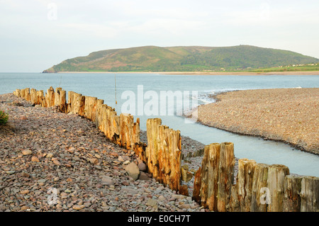 Hurlstone Point & Bossington Hill viewed from Porlock Weir - Stock Photo