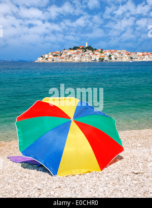 Primosten town, view from the beach, Croatia - Stock Photo