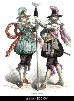 German soldiers from the 17th Century - Stock Photo