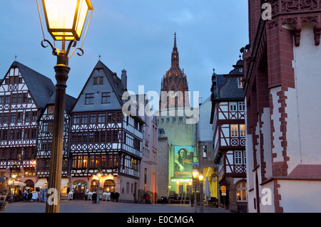 Roemerberg in the evening light, cathedral in the background, Frankfurt on the Main, Hesse, Germany - Stock Photo
