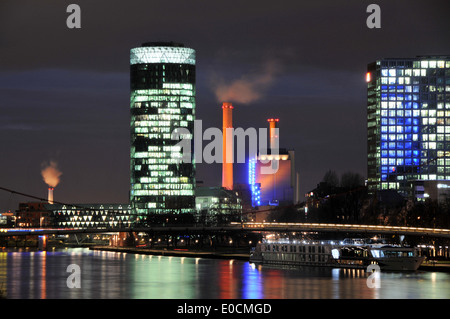 View over the Main river towards the financial district, Frankfurt on the Main, Hesse, Germany - Stock Photo