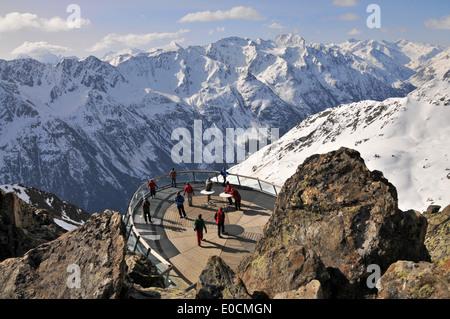 Observation platform on the top of Gaislachkogel, Winter in Tyrol, Soelden, Oetztal, Tyrol, Austria - Stock Photo