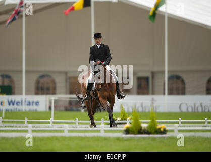 Badminton, UK. 09th May, 2014. Peter Flarup [DEN] riding Calista Eduring the dressage phase on day two of the 2014 - Stock Photo