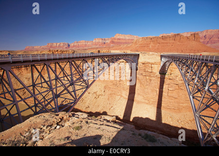 Navajo Bridge across the Colorado river, Marble Canyon, Vermilion Cliffs, Arizona, USA, America - Stock Photo