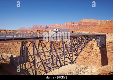 Navajo Bridge across the Colorado river, Marble Canyon, Vermillion Cliffs, Arizona, USA, America - Stock Photo