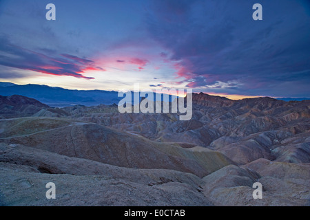 Zabriskie Point at Death Valley in the evening, Panamint Mountains, Death Valley National Park, California, USA, - Stock Photo