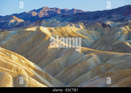 Zabriskie Point at Death Valley in the evening, Death Valley National Park, California, USA, America - Stock Photo